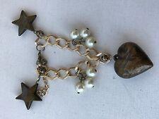 copper tone chain bracelet charm heart star pendant resin faux pearl bells