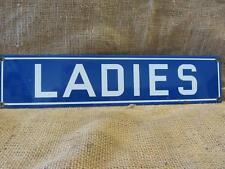 Vintage Porcelain Ladies Sign   Antique Women Garage Gas Station Restroom 9664