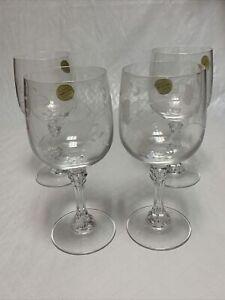 "Princess House #890 HERITAGE BORDEAUX 7"" 11 oz. Large Wine Glasses Set of 4 NIB"