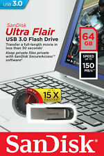 Sandisk Ultra Flair 64GB Memory Stick USB 3.0 Flash Drive Metal Body New Sealed