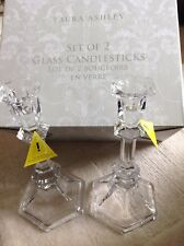 Laura Ashley -A Pair of Glass Dinner Candlestick Holders Boxed Set -BNWT-Elegant