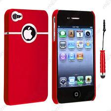Housse Coque Rigide Silver-Line chromé Rouge Apple iPhone 4S 4 + Mini Stylet