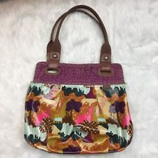 Fossil Key Per Shoulder Handbag Vinyl Coated Canvas Trees Fun Camouflage Fabric