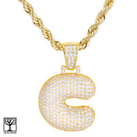 "Iced CZ Custom Bubble Letter C Initial Gold Plated Pendant 24"" Chain Necklace"