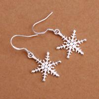 EG_ CHRISTMAS GIFT 925 STERLING SILVER SNOWFLAKE DROP DANGLE HOOK EARRINGS STRIC