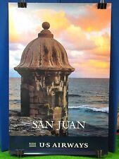 "Vintage Original US Airways Travel Poster 36 x 24"" San Juan Puerto Rico Airport"