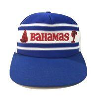 VTG 80s Bahamas Trucker Mesh Hat Cap Snapback Foam OSFA Sailboat Palm Tree EUC