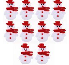 10 Fabric Christmas Snowmen.Diy.card making etc Padded Felt Appliques.9.5x6cm.UK