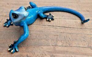 Blue speckled Gecko Lizard freestanding ornament display Wall mounted UK seller
