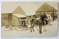 EAST DOVER N.H. Earl Yeaw's Horses Hitched to Sled  Real Photo Postcard c1920s