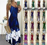 Women's Sexy Slim V Neck Print Maxi Dress Lady Bodycon Ball Gown Sling Dresses