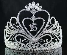 SWEET SIXTEEN 16 BIRTHDAY PARTY RHINESTONE TIARA CROWN W/ HAIR COMBS T1875 HUGE