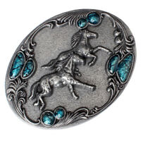 Classic Western Cowboy Double Running Horses Belt Buckle Metal Rodeo Silver