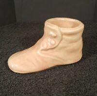 Vintage Pink Pottery Baby Shoe Planter USA