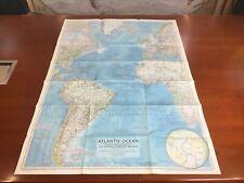 Poster, map of Atlantic Ocean  - National Geographic Map December 1955