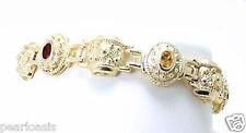 """Multi Real Gemstone Designer Bracelet,  7"""" Long, 0.52"""" Wide, 23g. 925 Silver"""