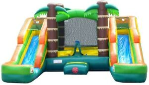 Pogo Tropical Inflatable Bounce House Double Lane Water Slide Pool With Blower