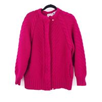 Vintage Peter G's General Store PQS Women's Cable Knit Wool Sweater Large Pink