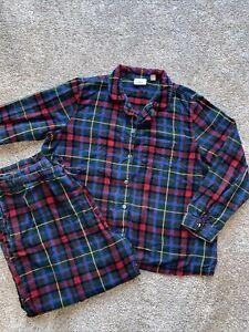 LL Bean Flannel 2 Piece Pajama Set Plaid Women's XL Petite Red,Green,Blue,Yellow