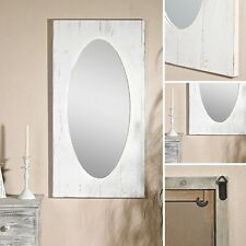 92CM Shabby Holz Spiegel Wandspiegel weiß Antik look Deko Spiegel Flurspiegel