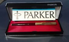 PARKER 65 UNINKED CUSTOM BURGUNDY CAP FP CHALK MARKS CONVERTER CASE SLEEVE MINT