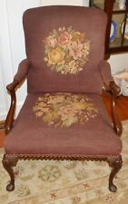 Vintage Queen Anne Burgundy Needlepoint Arm Chair