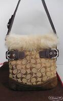 Coach F052 Khaki Signature Brown Leather Shearling Duffle Shoulder Bag