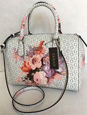 GUESS ASHVILLE BOX SATCHEL/White/Floral/Crossbody/Purse Bag/NWT
