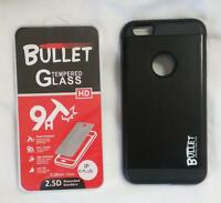BLACK IPHONE6 PLUS BULLET CELL PHONE CASE & IMPACT RESISTANT PROTECTIVE GLASS