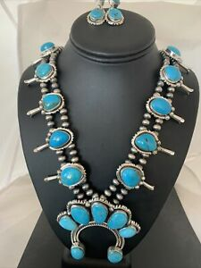 Navajo Sterling Silver Squash Blossom Kingman Turquoise Necklace Naja Yazzie957
