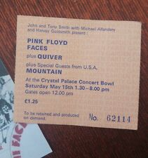 Pink Floyd Original ~ 1971 Ticket ~ Crystal Palace Bowl ~ Garden Party 15th May