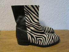RAS Leder Stiefeletten schwarz weiss Zebra Look Animal Gr. 40