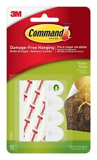 3M COMMAND POSTER/PICTURE STRIPS PACK OF 12 DAMAGE FREE HANGING