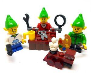 LEGO 3 x Christmas Elves Minifigures Workshop & Accessories NEW Santa Helpers