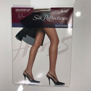 (2) Silk Reflections Control Top Sandalfoot 717 Size CD Barely There Silky Sheer