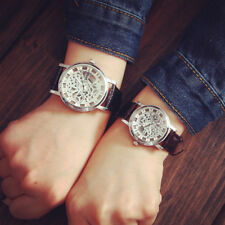 Men's fashion watches Transparent Quartz leather Wrist Watch Skeleton Hollow