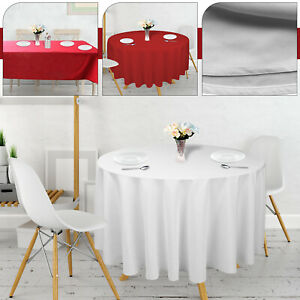 Rectangle Round Tablecloth Red White Polyester Table Cloth Festive Home Party