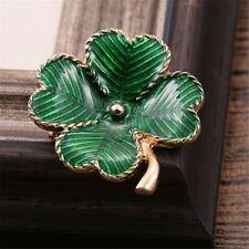 Elegant Four Leaf Clover Shamrock Eire Ireland Green And Gold Pin Brooch