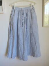 MUJI  french linen maxi skirt fine blue stripe. Size Small