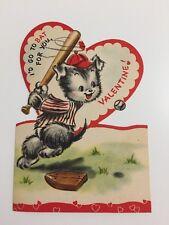 """1951 Vtg Hallmark Valentine Puppy Baseball """"I'd Go To Bat"""" 50s Valentine's Dog"""