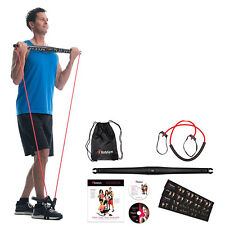 BodyGym All in 1 Home Gym Full Body Exercise Resistance Bar Kit w/2 Workout DVDs