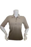 New Authentic Burberry Women's Nova Check Half Sleeve Beige Polo Shirt Small