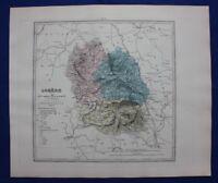 Original antique map LOZERE, FRANCE, MENDE, Le Vasseur, 1878