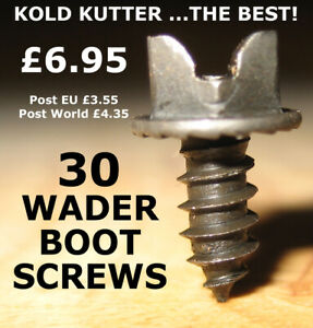 """Kold Kutter Wader Boot Studs - The Best! - 30 screws size 3/8"""" 10mm only £6.95"""