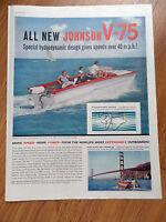 1960 Johnson Boats Motor Ad  All New Sea-Horse V-75 Fishing Theme