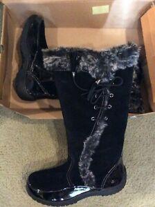 Sporto Waterproof Suede Tall Boot Side Winder Tassel Lace Up Black 11 M New