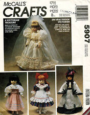 """McCall's Victorian Doll Clothes Pattern 5907 13"""",14"""",16"""" UNCUT"""