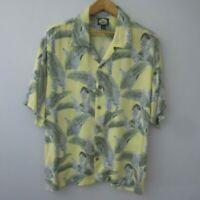 Vtg Tommy Bahama Mens Large Yellow Blue Green Floral Rayon Hawaiian SS Shirt L
