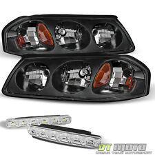 Replacement 2000-2004 Chevy Impala Black Headlights+LED SMD Bumper Fog Lights