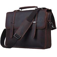 """Men's Leather Messenger Shoulder Bag 14"""" Computer Case Briefcase Office Work Use"""